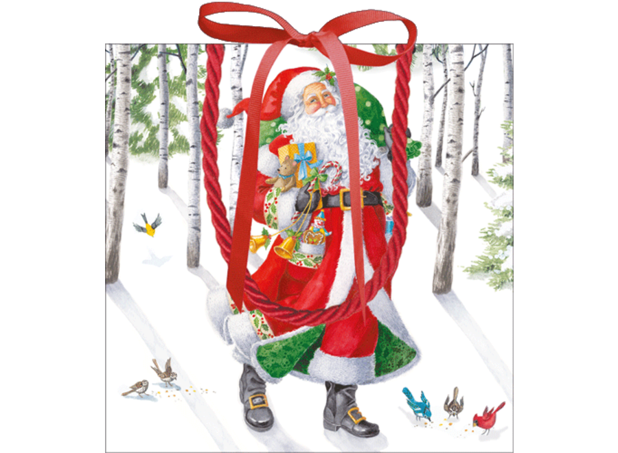 Woodland Santa Gift Bag Sm Sq. 5 3/4x2 1/2 X 5 3/4