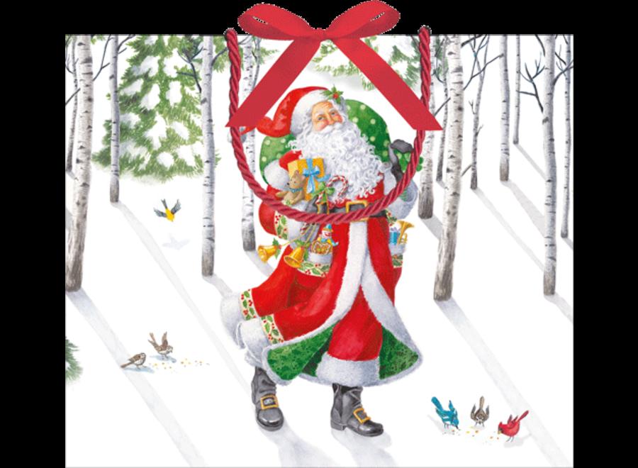 Woodland Santa Gift Bag Lg 11 3/4 X 4 3/4 X 10