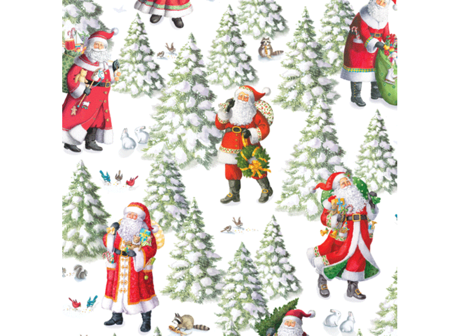 Woodland Santa Continuous Wrap Roll - 8 Ft
