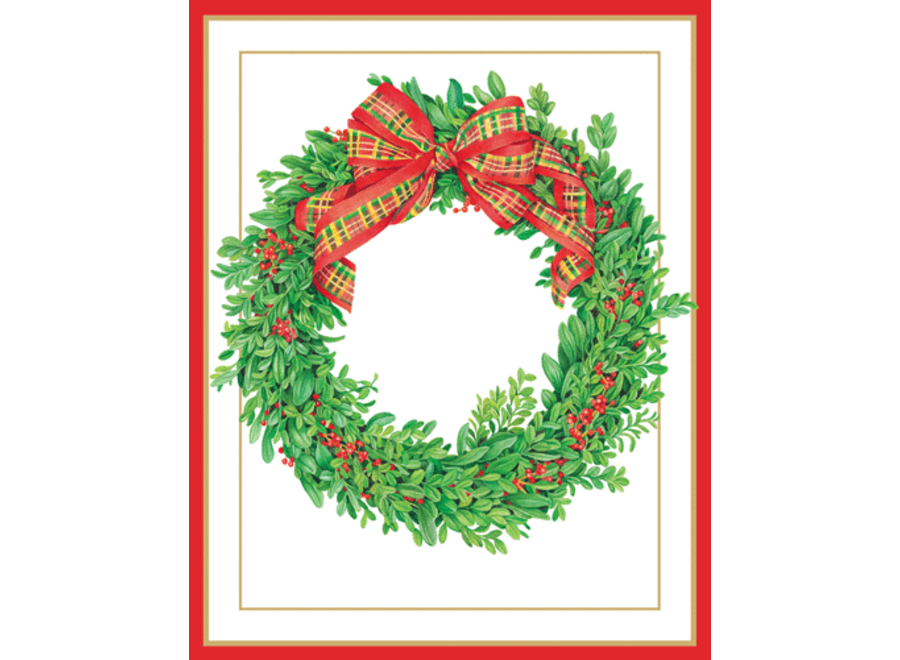 Boxwood And Berries Wreath Christmas Card Box 16 Count