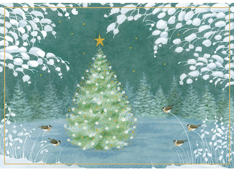 Tree And Winter Scene Christmas Card Box 16 Count