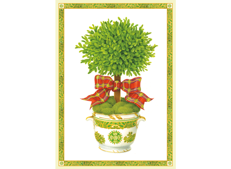 Topiary With Ribbon Christmas Card Box 16 Count