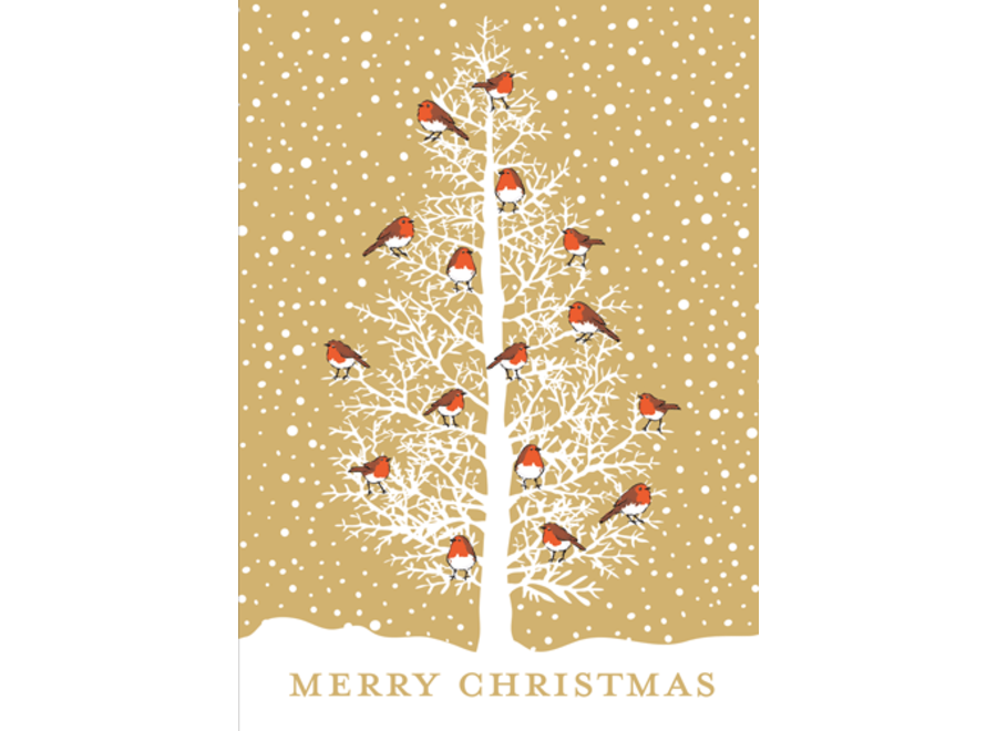 Robins In Tree Christmas Card Box 16 Count