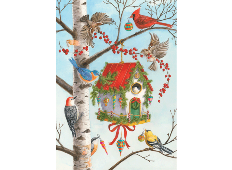 Decorated Birdhouse Christmas Card Box 16 Count