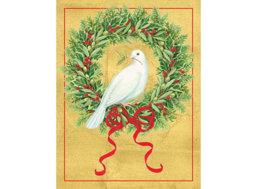 Dove With Wreath Christmas Card Box 16 Count