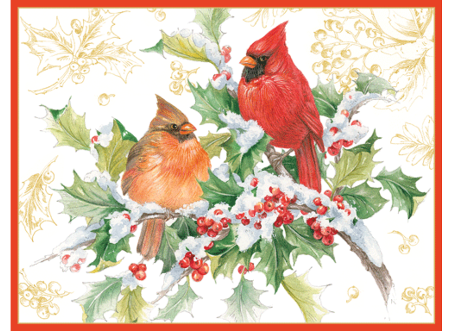 Cardinals And Holly Christmas Card Box 16 Count
