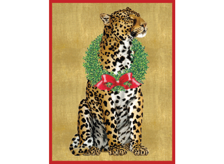 Leopard With Wreath Christmas Card Box 16 Count