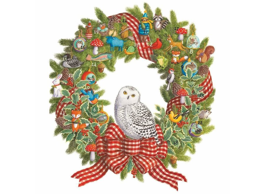 Snowy Owl Wreath Advent Calendar - 1 Each