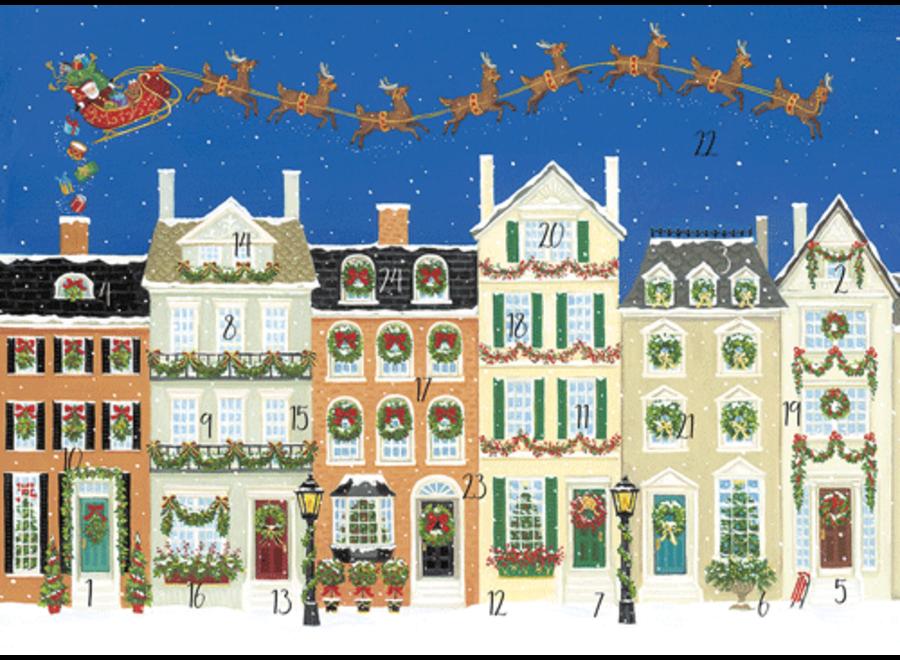 Santa Delivering Gifts Advent Calendar Greeting Card - 1 Card & 1 Envelope