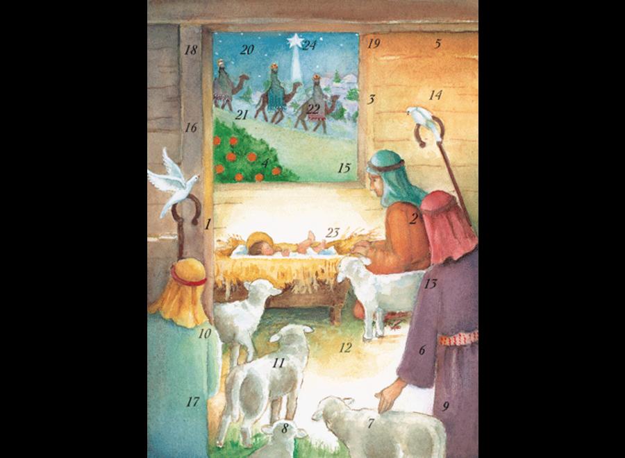 Manger And Shepherds Advent Calendar Greeting Card - 1 Card & 1 Envelope