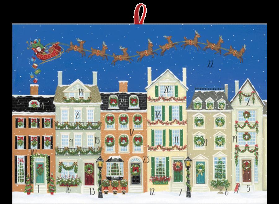 Santa Delivering Gifts Advent Calendar With Envelope
