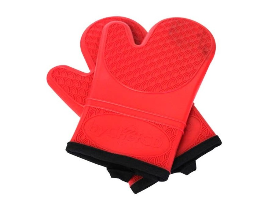 Professional Silicone Oven Mitts Heat Resistant Gloves - Red