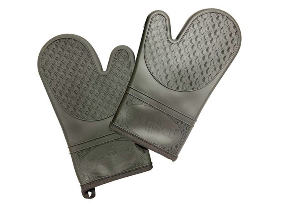 Professional Silicone Oven Mitts Heat Resistant Gloves - black