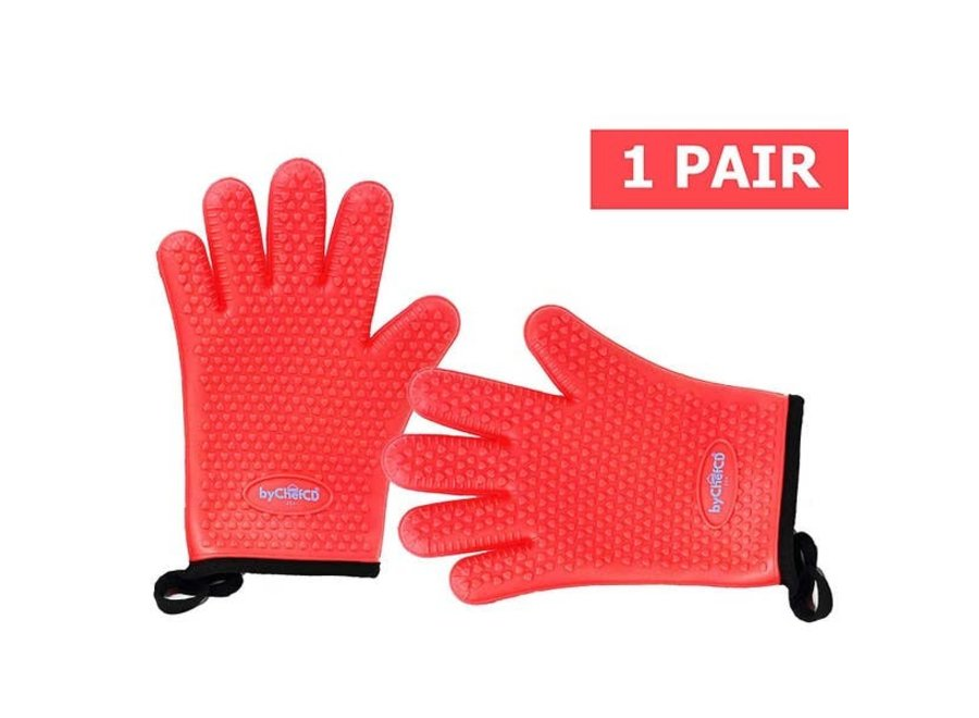 Silicone Grilling Gloves - Red
