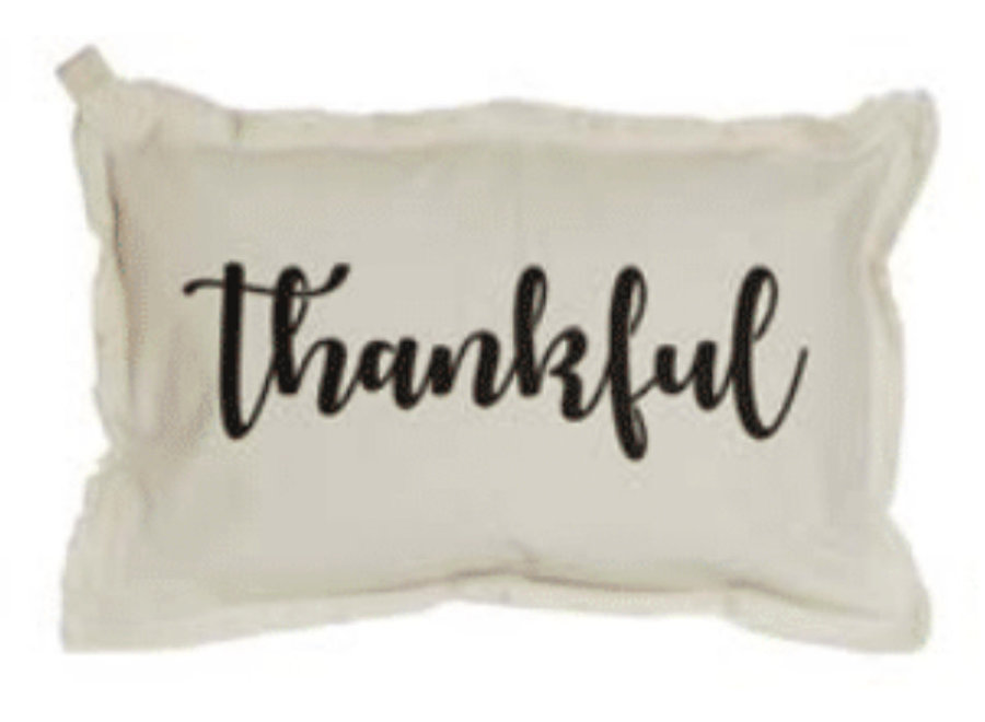 "Pillow Thankful Script Natural Black Small 12"" x 18"""