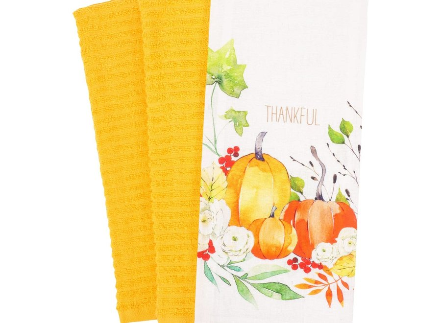 Harvest Bounty Wreath Kitchen Towel - Set of 3