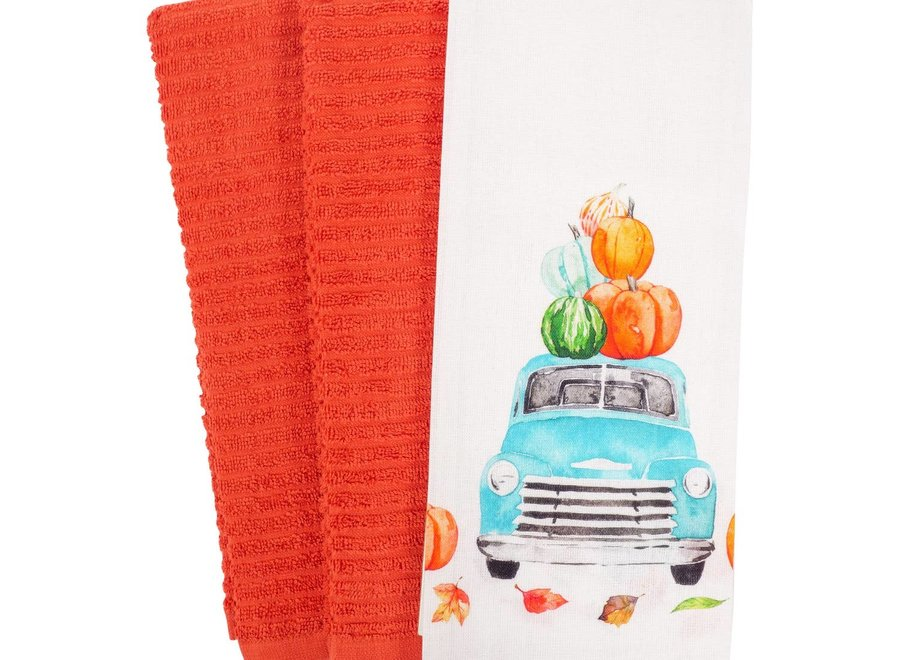 Watercolor Harvest Truck Kitchen Towel - Set of 3 Watercolor