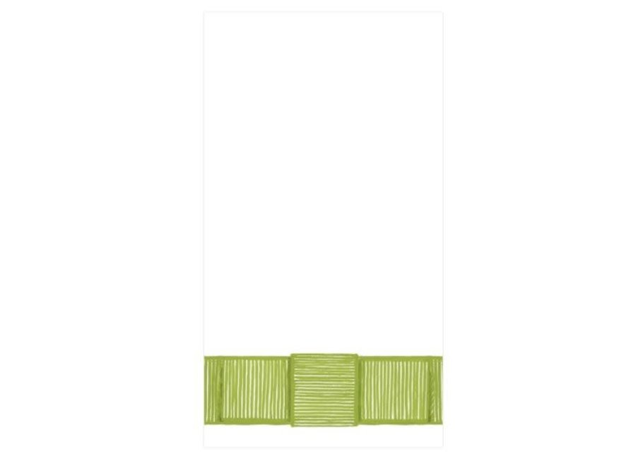 Ribbon Border Paper Guest Towel Napkins in Green - 15 Per Package