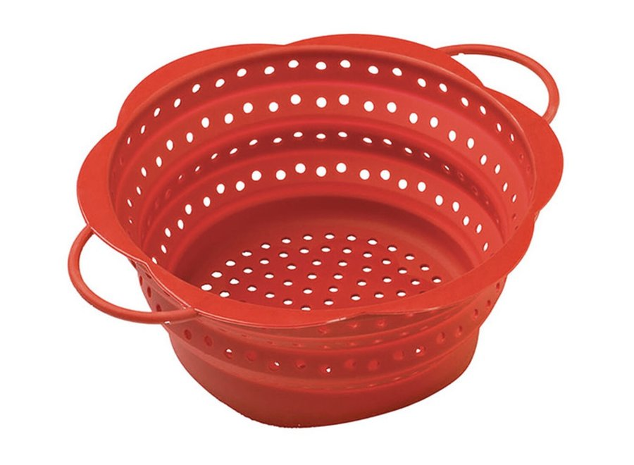 Silicone Collapsible Colander Small Red