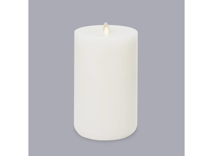 LightLi Wick to Flame Pillar LED Candle, Ivory - Short