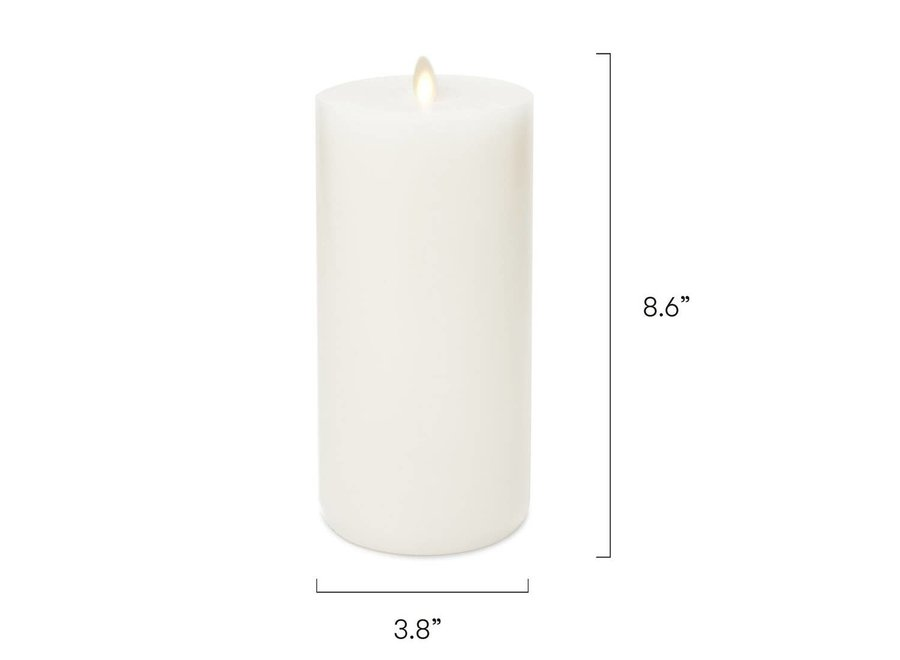 LightLi Wick to Flame Pillar LED Candle, Ivory - Tall