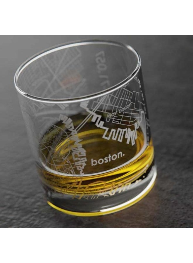 Boston MA Map Rocks Whiskey Glass