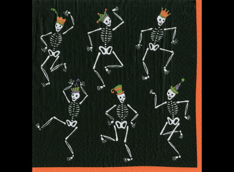 Dancing Skeleton Cocktail Napkins in Black - 20 Per Package