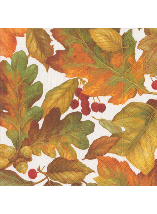 Autumn Leaves 2 Cocktail Napkins in White - 20 Per Package