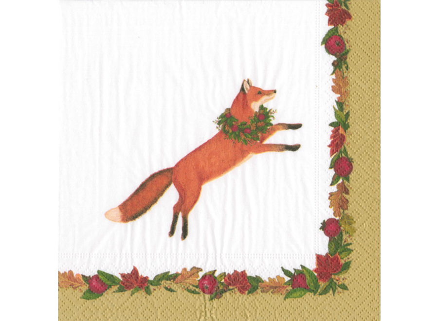 Leaping Fox Paper Cocktail Napkins in White - 20 Per Package