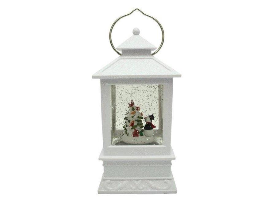 "8.5""H LED White Lantern with Snowman Winter Scene Glitter Dome Snow Globe"
