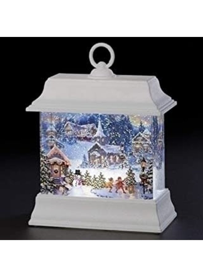 """8.5""""H LED Swirl Christmas Town Printed Lantern; Batteries Included"""