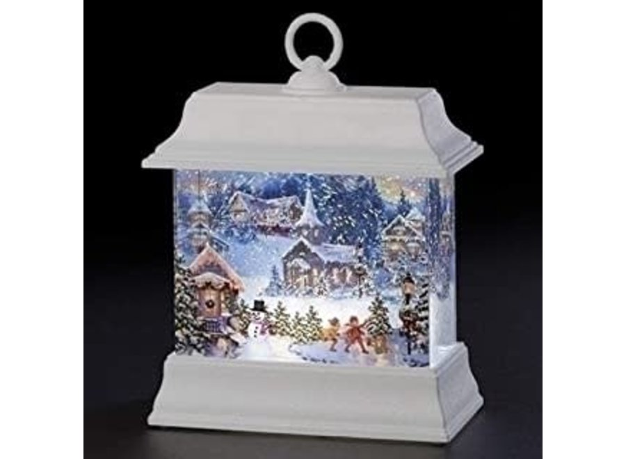 """8.5""""H LED Swirl Christmas Town Printed Lantern Batteries Included"""