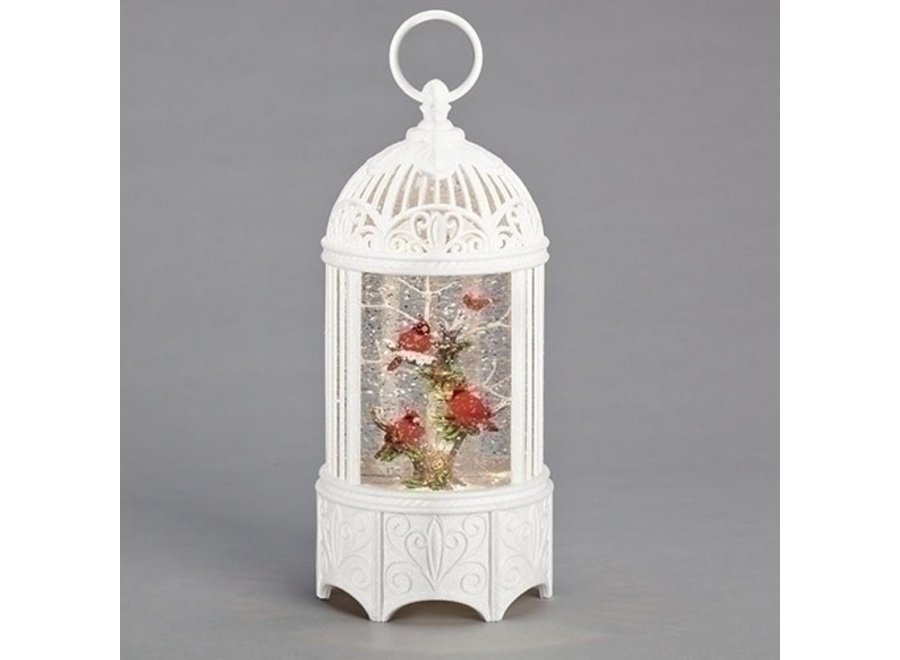 """10.2""""H LED Swirl Birdcage Christmas Cardinal; Battery Operated, Included"""
