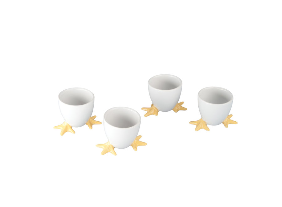 Set of 4 Yellow Chicken Footed Egg Cups