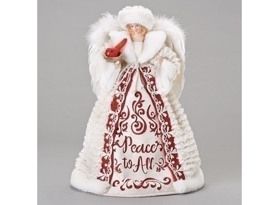 """16"""" Peace To All Angel Tree Topper with Cardinal"""