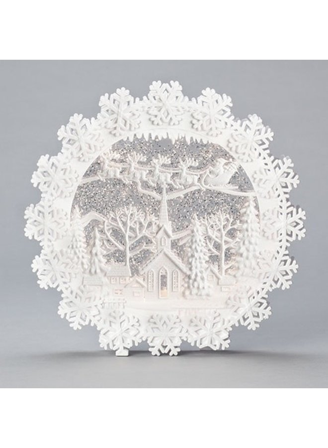"""12.5""""H LED Swirl Snowflake with Church Scene; Batteries Included"""