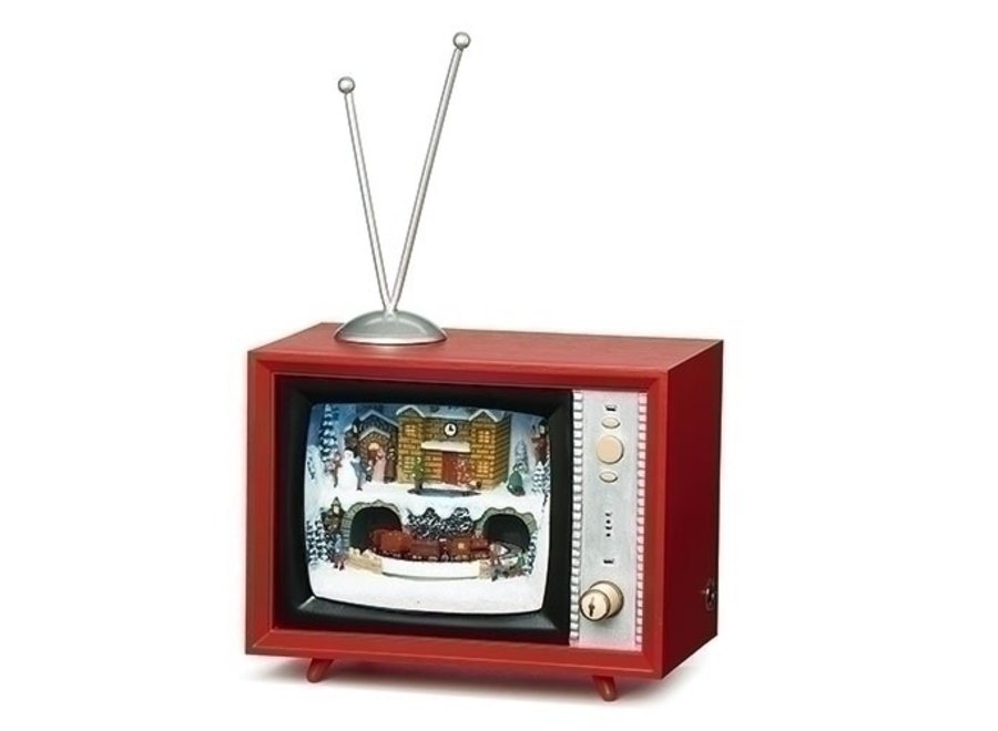 """5.25""""H Musical LED TV North Pole; Rotating; Battery Operated; Included"""