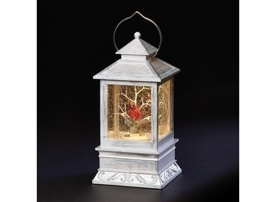 """8.5""""H LED Swirl Grey Lantern Cardinal, Tree; Battery Operated; Included"""