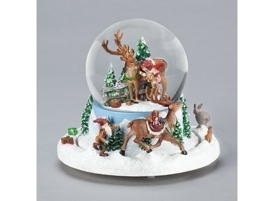 "5.7""Musical Elves Chasing Deer Dome; Rotation; Windup; 100MM"
