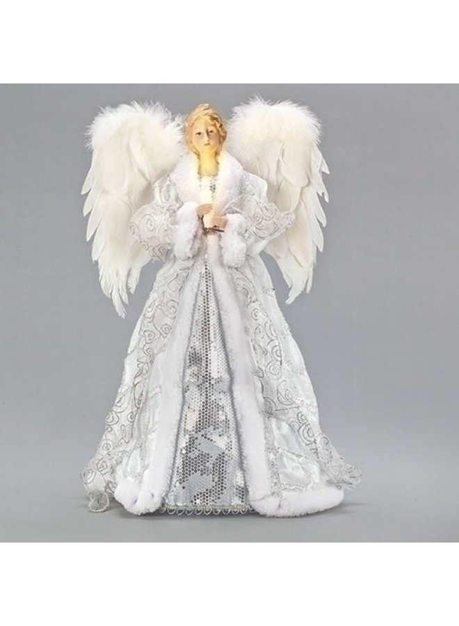 """20"""" LED Angel w/ Candle Tree – Topper: Battery Operated / Included"""