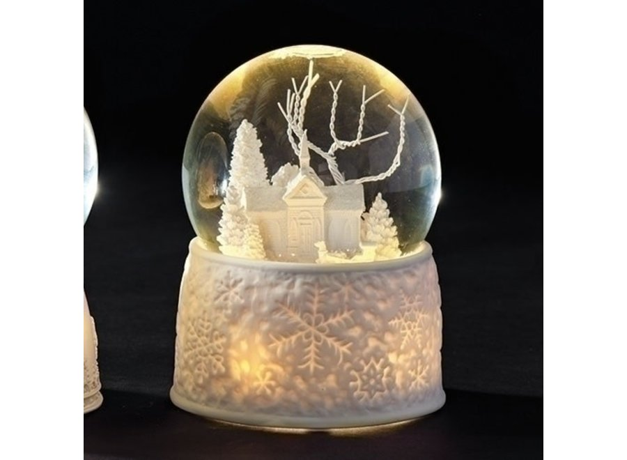 """5.5"""" LED Church w/ Sleigh Dome Battery Operated / Included"""