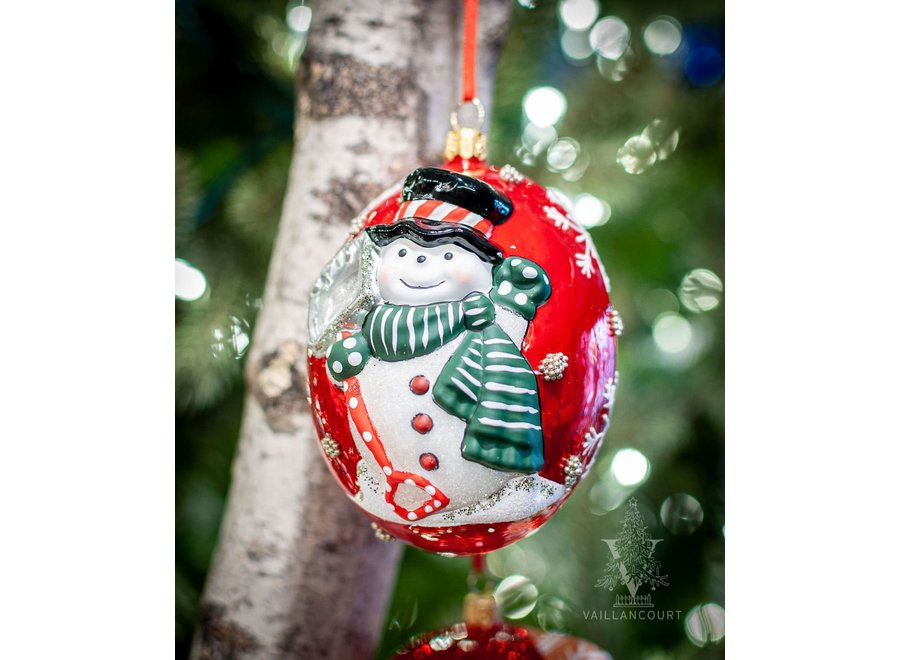 Jingle Balls™ Snowman with Shovel on Pearlized Red