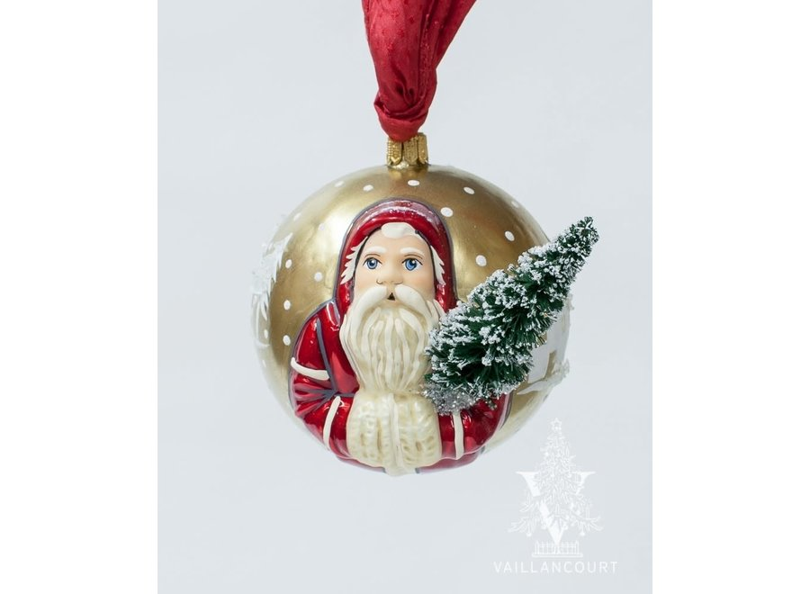 Jingle Balls™ Red Village Santa with Tree on Gold
