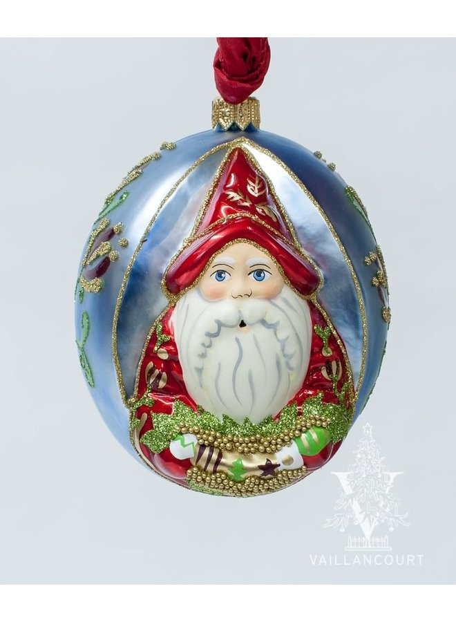 Jingle Balls™ Pearlized Santa in Red Holding Swag of Ornaments