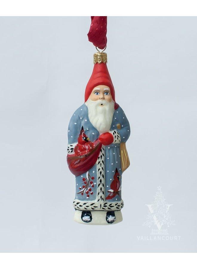 Cardinal Coat Santa Ornament