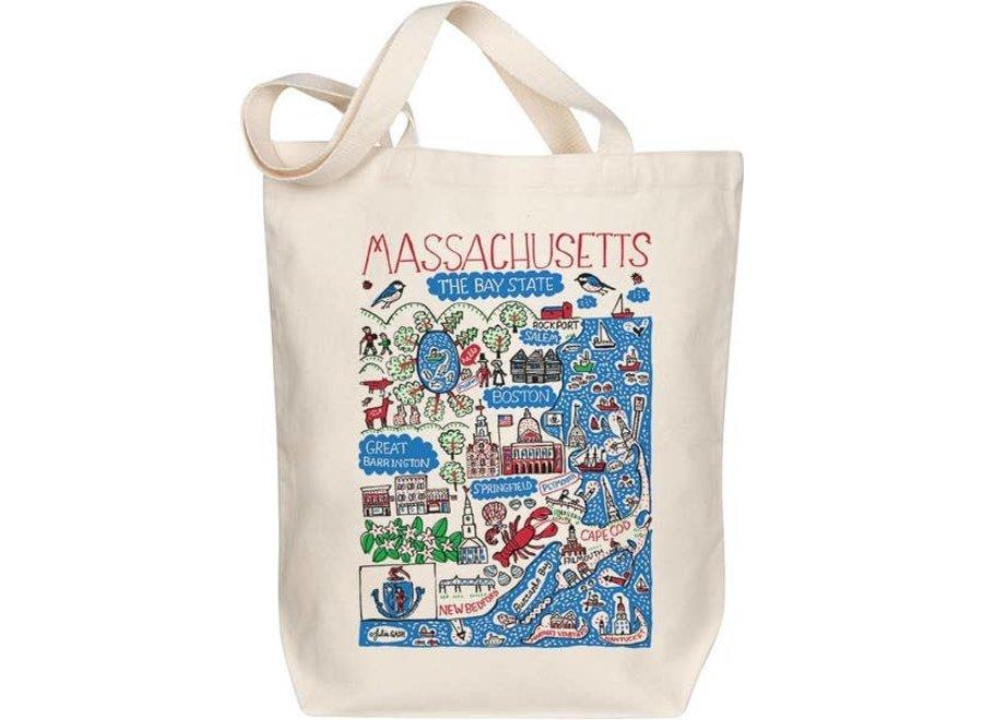Massachusetts Map Art Tote