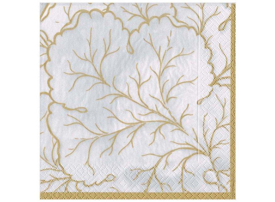Gilded Majolica Paper Dinner Napkins in Ivory - 20 Per Package