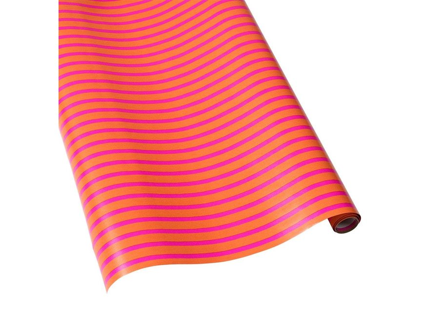 """Bretagne Reversible Gift Wrapping Paper in Coral & Pink - 30"""" x 5' Roll"""