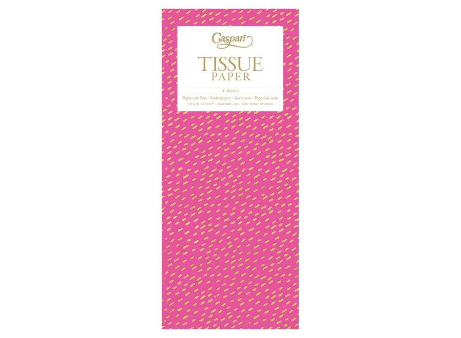 Little Dash Tissue Paper in Fuchsia & Gold - 4 Sheets Included