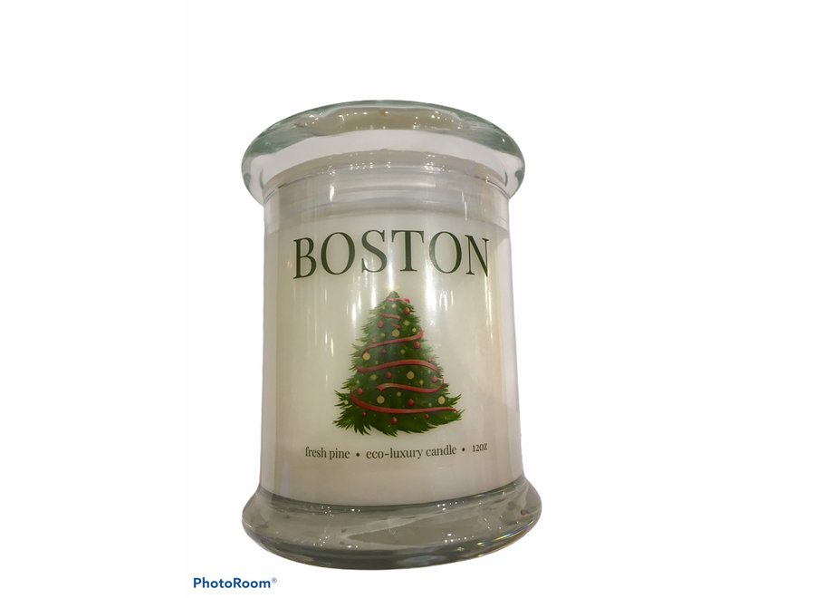 Entering Boston Candle Fresh Pine with Tree